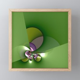 Abstract geometric round shapes on green Framed Mini Art Print