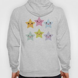 Kawaii stars, face with eyes, pink green blue purple yellow Hoody