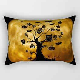 Surreal halloween tree with pumpkins, bats and owls Rectangular Pillow