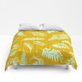 Golden palm pattern with bright mint color Comforters