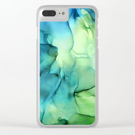 Blue Green Spring Marble Abstract Ink Painting Clear iPhone Case