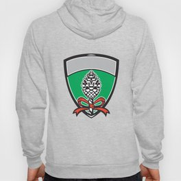 Thyrsus Pine Cone Staff Leaves Crest Retro Hoody