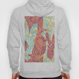 Modern abstract pink teal yellow hand painted bohemian feathers Hoody