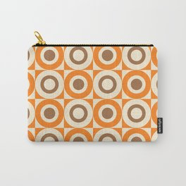 Mid Century Square and Circle Pattern 541 Orange and Brown Carry-All Pouch