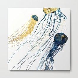 Metallic Jellyfish II Metal Print