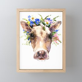 Cow Head, Floral Farm Animal Artwork farm house design, cattle Framed Mini Art Print