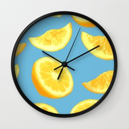 Lemon Slices and Wedges on blue Wall Clock