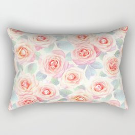 Faded Vintage Painted Roses Rectangular Pillow