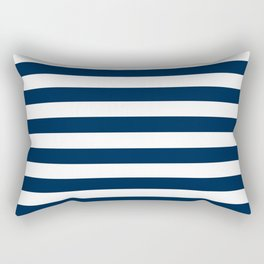 Narrow Horizontal Stripes - White and Oxford Blue Rectangular Pillow