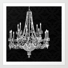 Black and White Chandelier Art Print