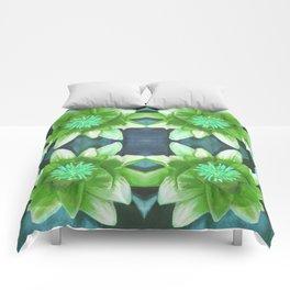Teal Green Bromeliad Pattern Comforters