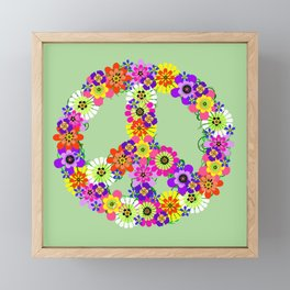 Peace Sign Floral on Green Framed Mini Art Print