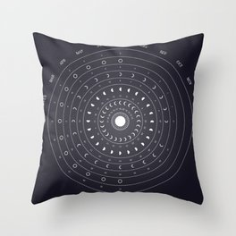 2019 Lunar Phases Calendar Throw Pillow