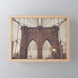 Moody Brooklyn Bridge Framed Mini Art Print
