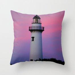 Lighthouse and Sunset Throw Pillow