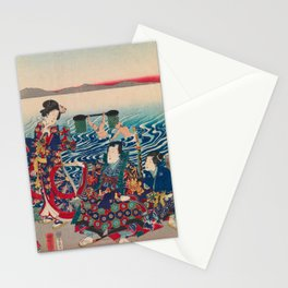 Utagawa Yoshitora - Genji Crossing the Oi River (1862) Stationery Cards
