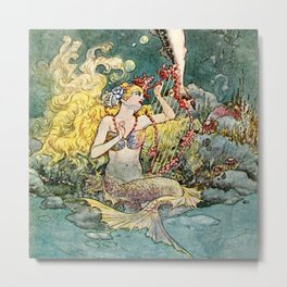 """Mermaid and Harp"" by Charles Folkard Metal Print"