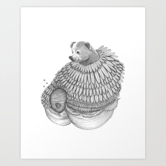 The Bear and the Bees- Feathered Art Print