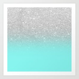 Modern girly faux silver glitter ombre teal ocean color bock Art Print