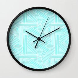 Sketchy Abstract (White & Aqua Pattern) Wall Clock