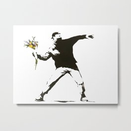 Banksy - Man Throwing Flowers - Antifa vs Police Manifestation Design For Men, Women, Poster Metal Print