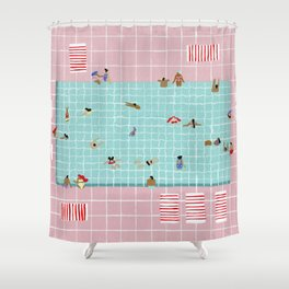 Pink Tiles Shower Curtain