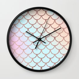 Blush tones rose gold watercolor gradient scallope Wall Clock