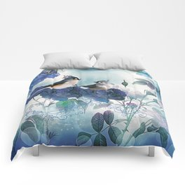 Cute birds with flowers Comforters
