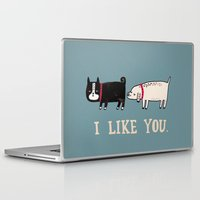 turquoise Laptop & iPad Skins featuring I Like You. by gemma correll
