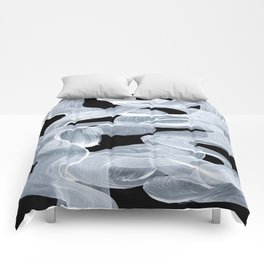 Ghostly Smoke Organic Brush Strokes Black Background Magical Ghostly Pattern Comforters