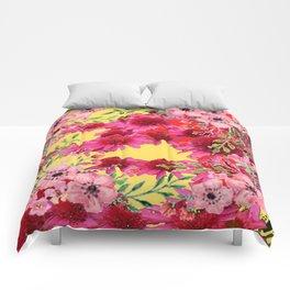 FUCHSIA-PINK FLOWERS YELLOW ART PATTERNS Comforters
