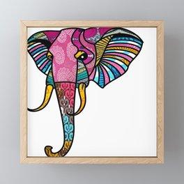 Pink Retro Elephant Framed Mini Art Print