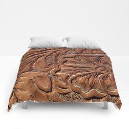 Vintage Worn Tooled Leather Comforters