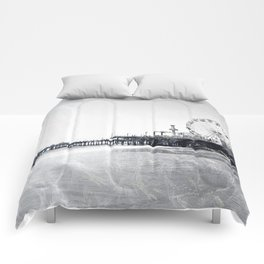 Frosted Santa Monica Pier Comforters