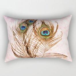 Boho Chic Peacock Feathers Pink Mandala Sun Rectangular Pillow