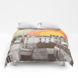Rainbow Sky Above Paris Comforters