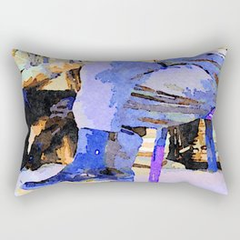 Two old men sitting in the street to Aleppo Rectangular Pillow