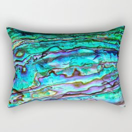 Glowing Aqua Abalone Shell Mother of Pearl Rectangular Pillow