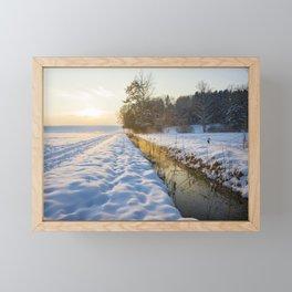 winter sunset Framed Mini Art Print