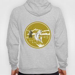 Fly Fisherman Reeling Trout Circle Retro Hoody