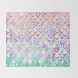 Iridescent Mermaid Pastel and Gold Throw Blanket