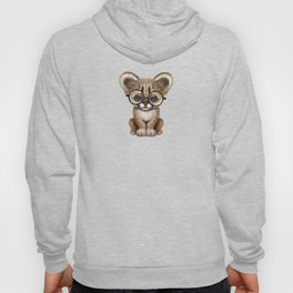Cute Cougar Cub Wearing Reading Glasses on Red Hoody