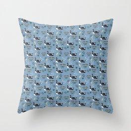 Geese in the rain - blue Throw Pillow