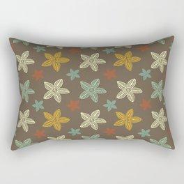 Retro Brown Blue Yellow Gold Polynesian Flowers Pattern Rectangular Pillow
