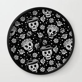 Black and White Day of the Dead Sugar Skulls Wall Clock