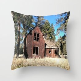 Old barn scene in Sisters OR Throw Pillow