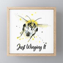Just Winging It - Punny Bee Framed Mini Art Print