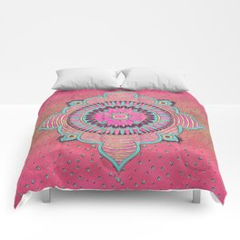 India Pink Mandala Pattern Comforters