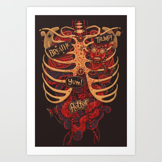 Anatomical Study - Day of the Dead Style Art Print