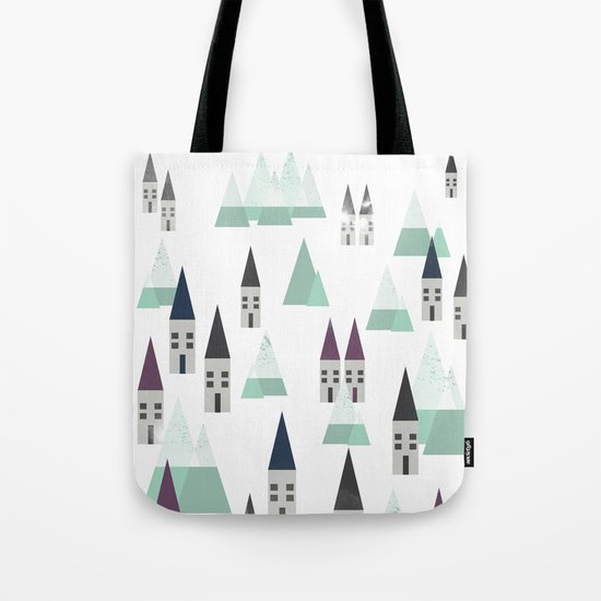 Village on winter Tote Bag